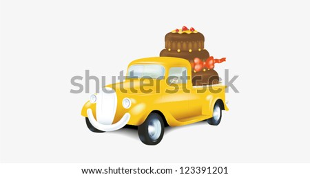 Cake delivery car - stock vector