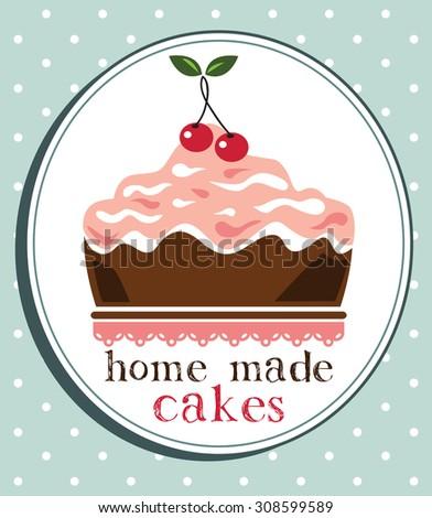 Cake design,home made cake - stock vector