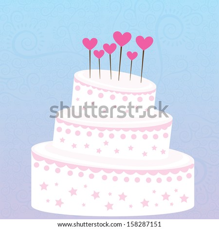 cake design over blue  background vector illustration
