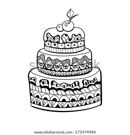 Cake Coloring Book Adults Zentangle Style Stock Vector (2018 ...