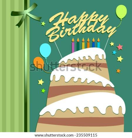 cake green birthday card - stock vector