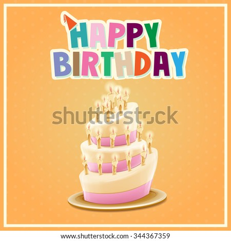 CAKE HAPPY BIRTHDAY - stock vector