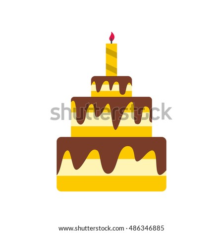 Cake icon in flat style isolated on white background. Food symbol vector illustration