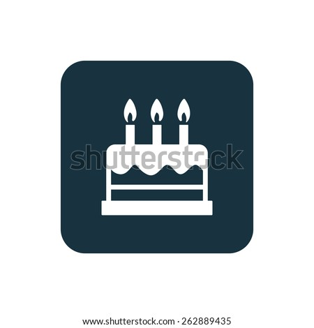 cake icon Rounded squares button, on white background - stock vector