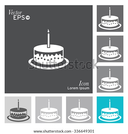 Cake icon - vector, illustration. - stock vector