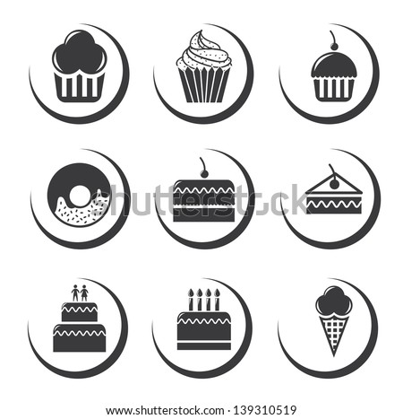 cake icons over white background vector illustration - stock vector