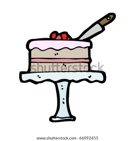 cake on stand cartoon - stock vector