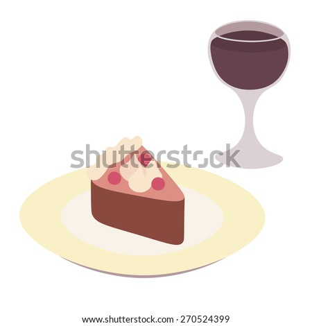 Cake on the plate with filling, cream and berries and a glass of red wine - stock vector