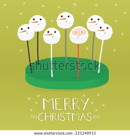 Cake pop is a - cake styled as a lollipop  - stock vector