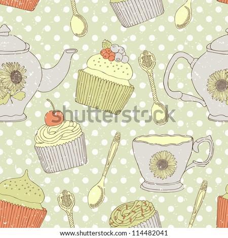 cake retro seamless background - stock vector