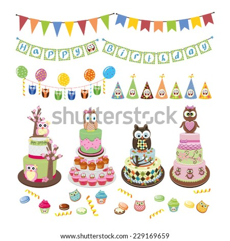 Cake set  - stock vector