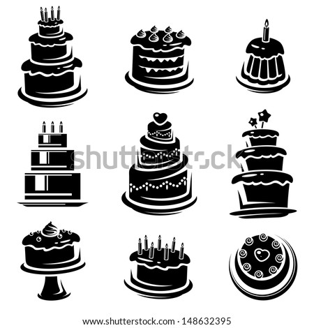 Cake set. Vector  - stock vector