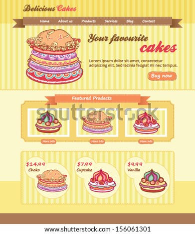 Cake Shop Design for website - stock vector