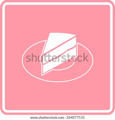 cake slice in dish sign - stock vector