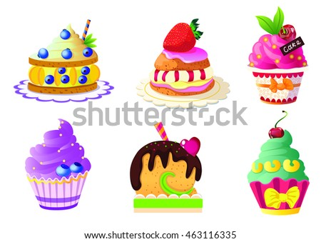 cake,sweets ,vector, white background,