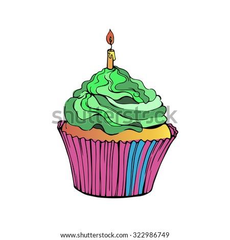 cake vector cupcake dessert cream food sweet illustration birthday delicious - stock vector