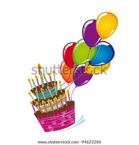 cake with balloons isolated over white background. vector - stock vector