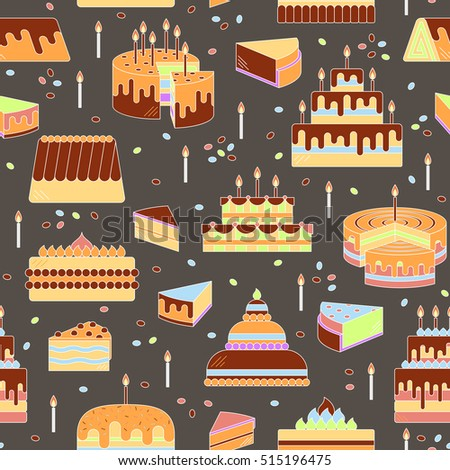 Cake with candle vector icon line seamless pattern. Sweet dessert illustration. Happy birthday wedding party celebration food silhouette. Bakery cafe restaurant design element. Chocolate cream slice