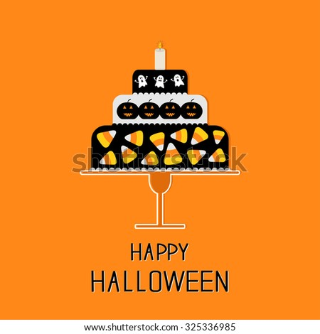 Cake with candy corn, pumpkin, ghost and candle. Happy Halloween. Black background. Flat design. Vector illustration - stock vector