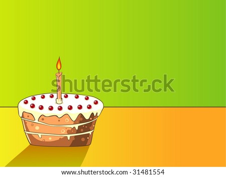 cake with cherries and candles