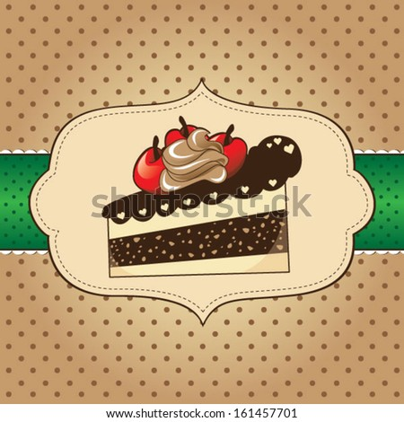 Cake with cherries for greeting card - stock vector