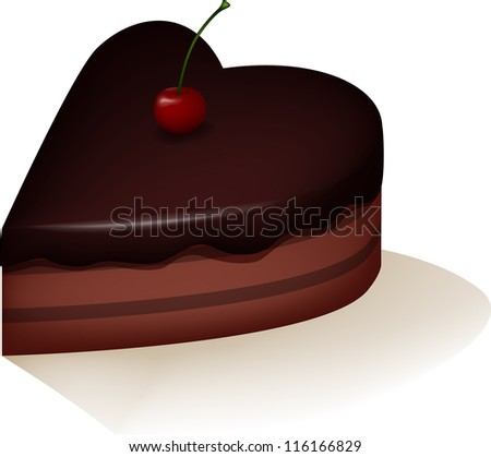 Cake with cherry - stock vector