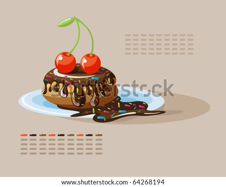 cake with chocolate and cherries - stock vector