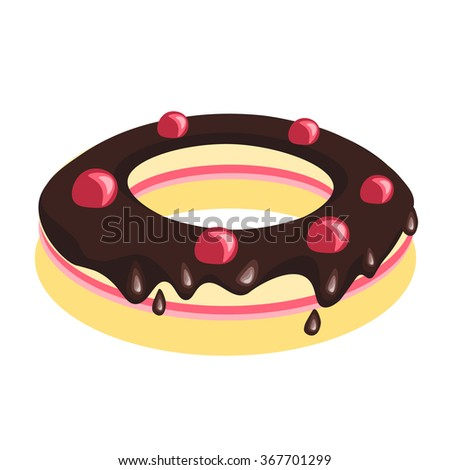 Cake with chocolate topping - stock vector