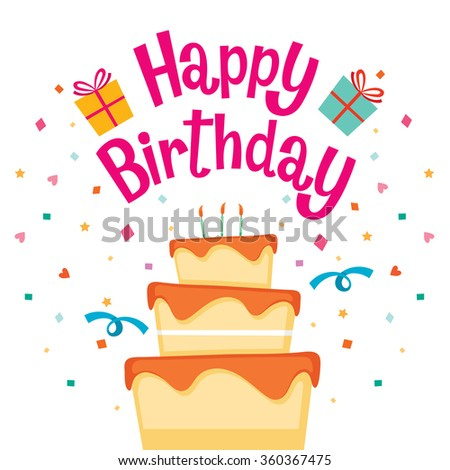 Cake With Happy Birthday Letter, Birthday Party, Banquet, Feast, Celebration, Gift - stock vector