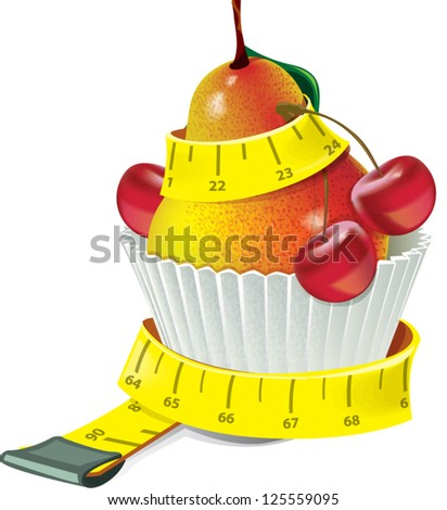 cake with pear and cherry and measuring tape. Diet concept