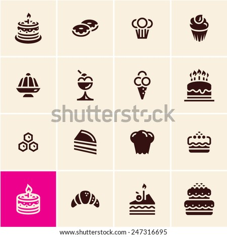 Cakes and dessert icons set. Dessert icons. Confectionery. Pastry. - stock vector