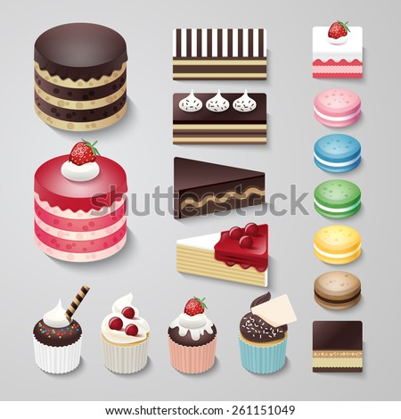 Cakes flat design dessert bakery vector set / illustration - stock vector