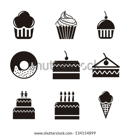 cakes icons over white background. vector illustration - stock vector