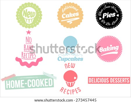 Cakes, pies and desserts icons set. Vector collection of desserts. Calligraphic titles and symbols for baking.  - stock vector
