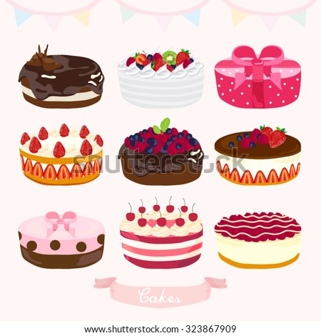 Cakes Vector Design Illustration - stock vector