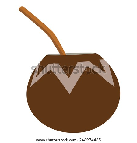 Calabash with bombilla , yerba mate tea, argentinian hot drink - stock vector
