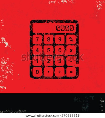Calculate design on grunge background, red version - stock vector