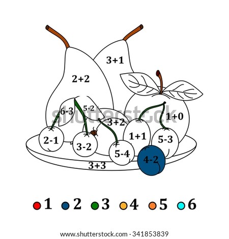 Calculate the examples and fill colors depending on the result - fruits - vector - stock vector