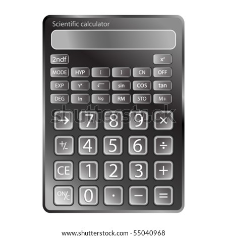 calculator against white background, abstract vector art illustration - stock vector