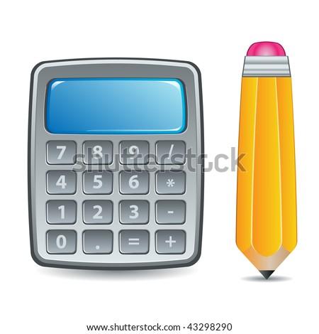 Calculator and Pencil Icon or Symbol Illustration - stock vector