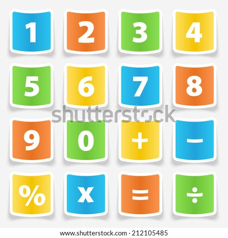 Calculator button number stickers illustration - stock vector