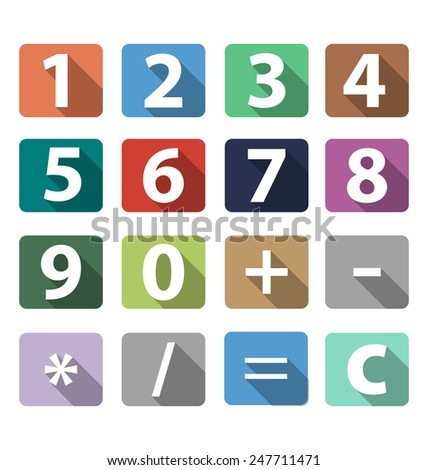 calculator buttons in flat design with long shadow vector - stock vector