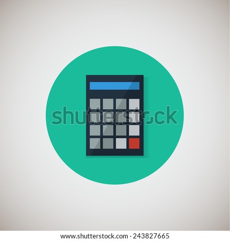 Calculator flat icon. Flat design style modern vector illustration. Isolated on stylish color background. Flat long shadow icon. Elements in flat design. EPS 10. - stock vector