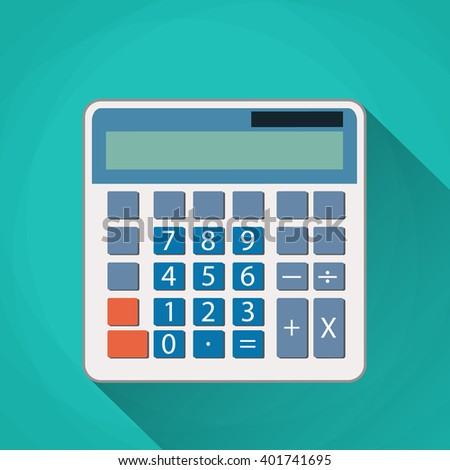 Calculator flat illustration. Calculator isolated on a green background. Icon white calculator. electronic calculator. Concept icon accounting and calculation. vector illustration - stock vector
