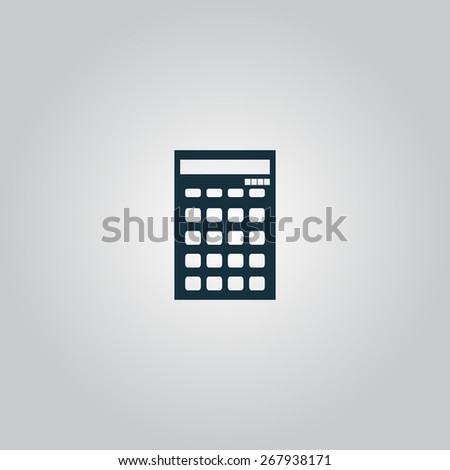 calculator. Flat web icon or sign isolated on grey background. Collection modern trend concept design style vector illustration symbol - stock vector