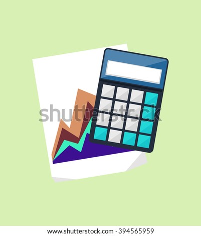Calculator icon and chart isolated design flat. Calculate finance isolated, accounting and money, calculate tax, paper document chart, financial report data chart vector illustration - stock vector