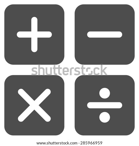 Calculator icon from Business Bicolor Set. This flat vector symbol uses gray color, rounded angles, and isolated on a white background. - stock vector