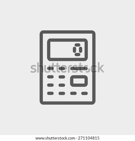Calculator icon thin line for web and mobile, modern minimalistic flat design. Vector dark grey icon on light grey background. - stock vector