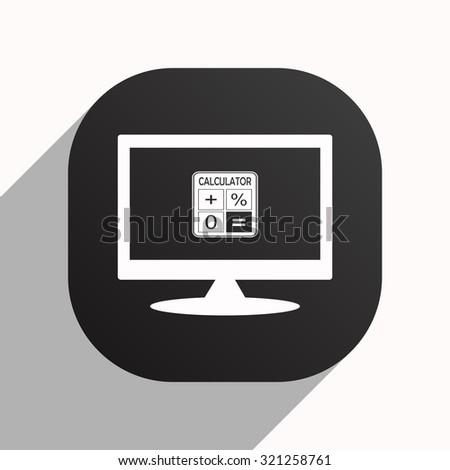 calculator. icon. vector design, black button for Mobile Applications - stock vector