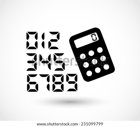 Calculator icon with calculator font numbers vector - stock vector